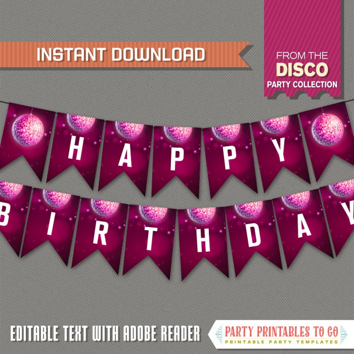 Disco Party Birthday Banner with Spacers