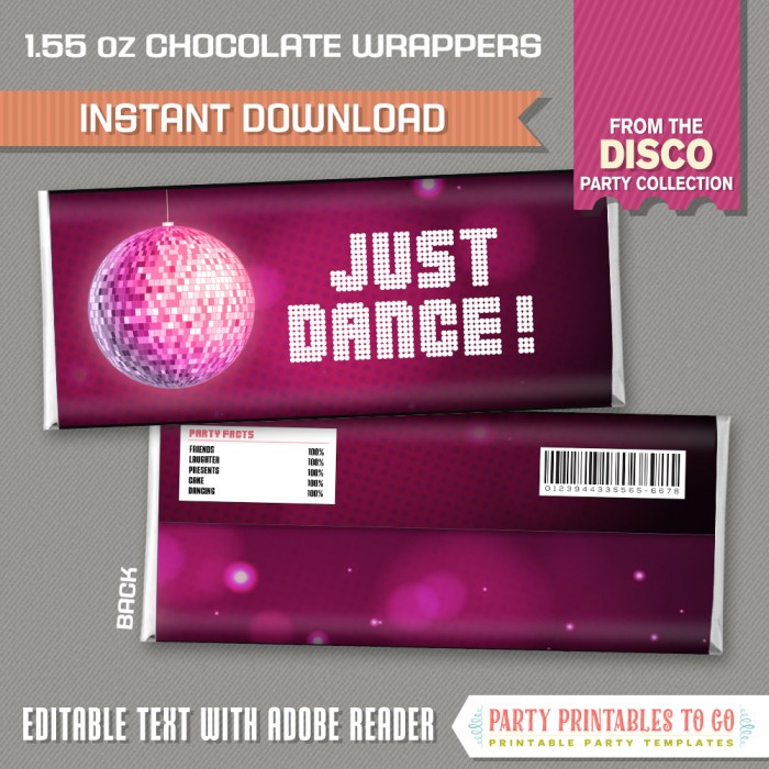 Disco Party Chocolate Wrappers Instant Download Disco