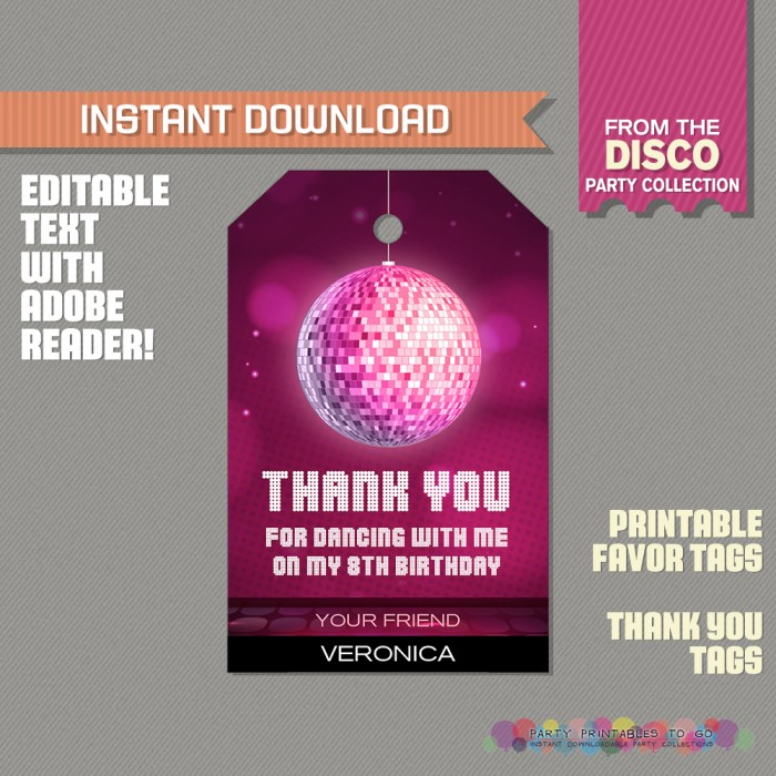 Disco Party Favor Tags / Disco Thank you Tag