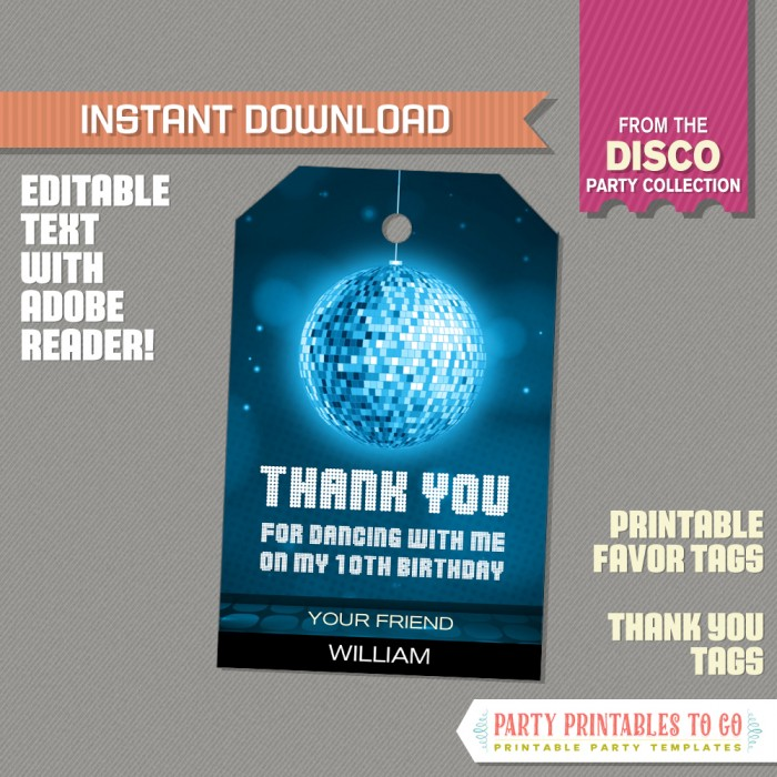 Disco Party Favor Tags / Disco Thank you Tag  (Blue)