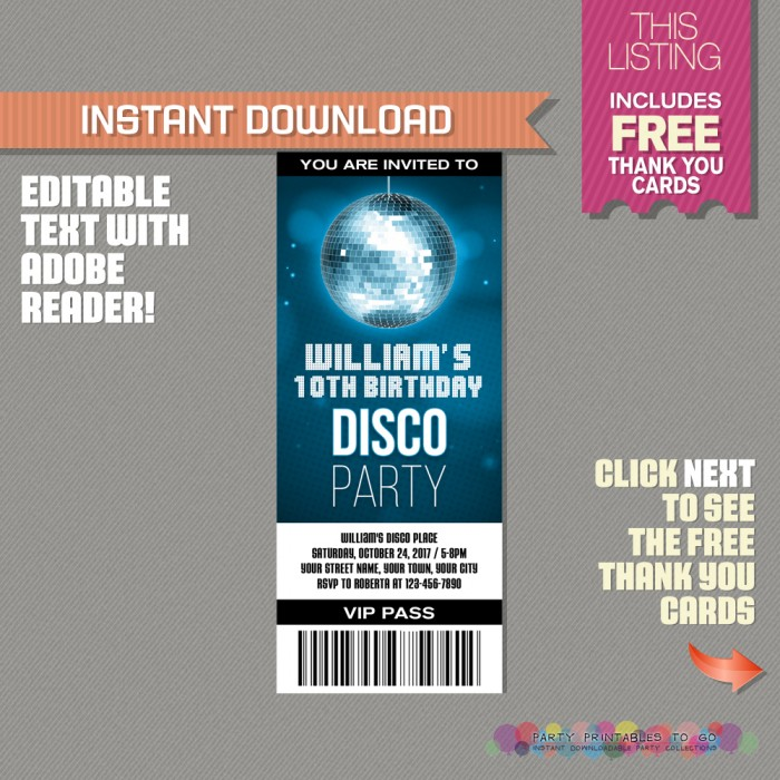 Disco Party Ticket Invitation with FREE Thank you Card! (Blue)