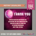 Disco Party Ticket Invitation with FREE Thank you Card