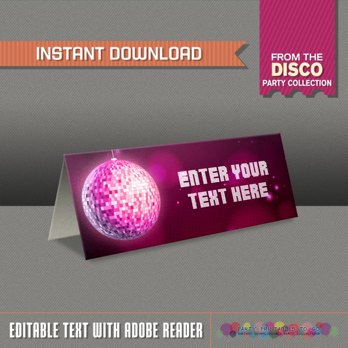 Disco Party Tent Cards / Disco Party Place Cards
