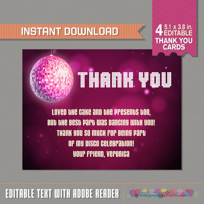 Disco Party Thank You Card