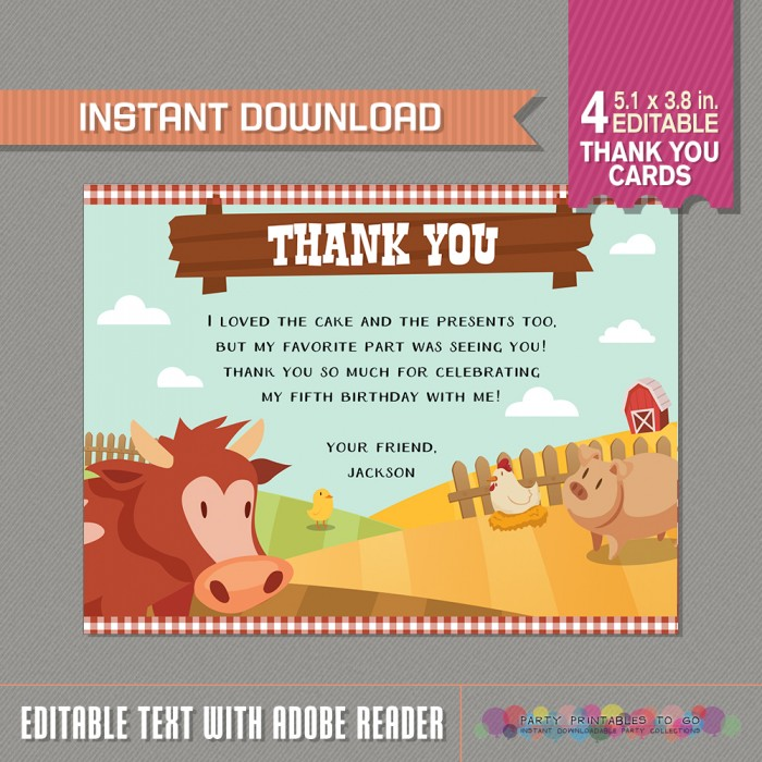 Barnyard Farm Birthday Party Thank You Card Barnyard Party