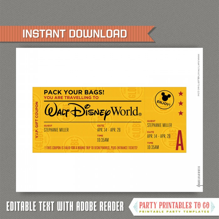 photo relating to Disney World Printable Tickets called Editable Speculate Holiday vacation Ticket toward Disneyland / Disneyworld