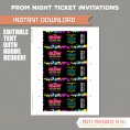 Neon Glow Party Prom Ticket Invitations