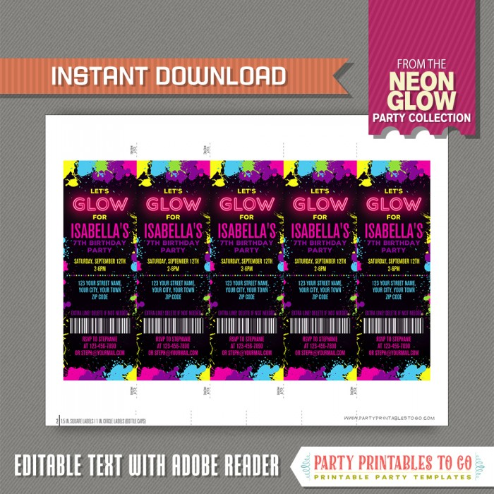 Neon Glow Party Ticket Invitation - INSTANT DOWNLOAD - Glow in the ...