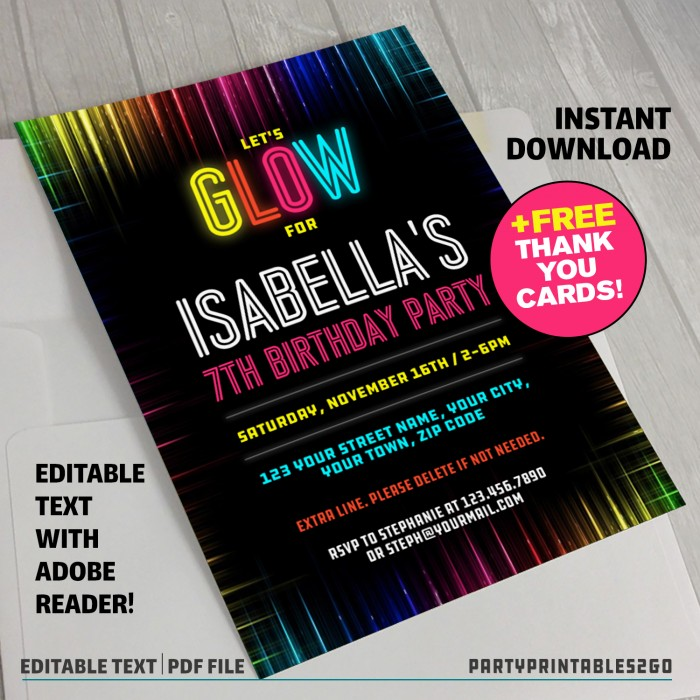Neon Glow Party Invitation with FREE Thank you Cards (v.4)