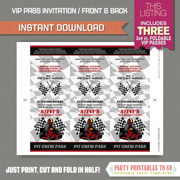 Go Karty Birthday Party VIP Pass Invitations INSTANT DOWNLOAD Go