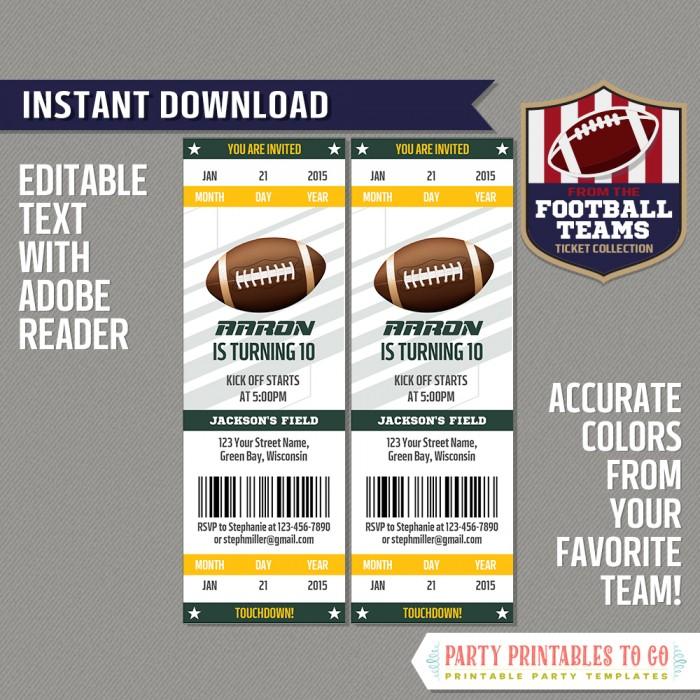 Green Bay Packers Ticket Invitation - Editable PDF file