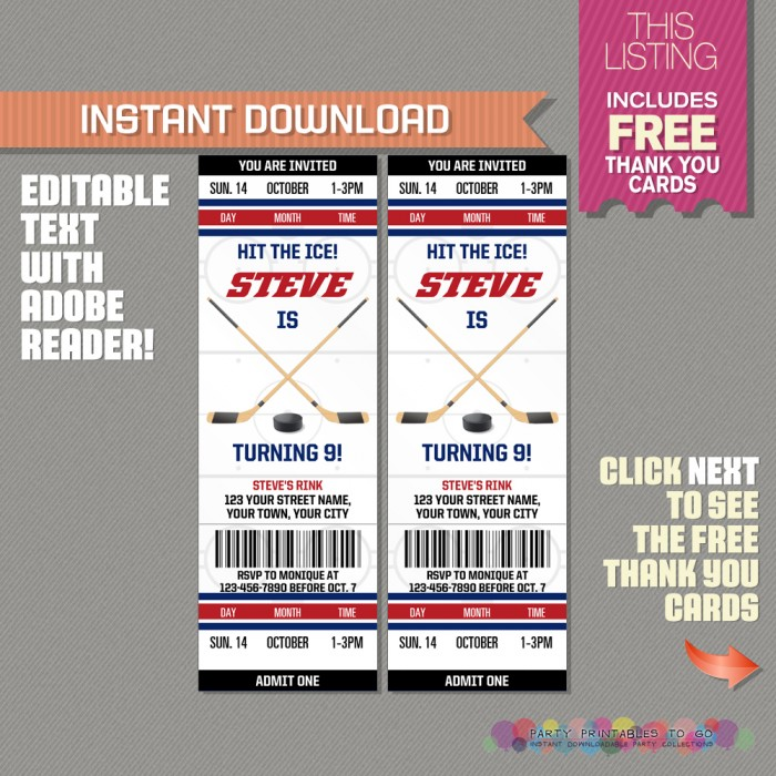 Ice Hockey Ticket Invitation with FREE Thank you Card
