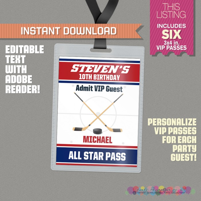 Ice Hockey Party All Star Pass printable Insert