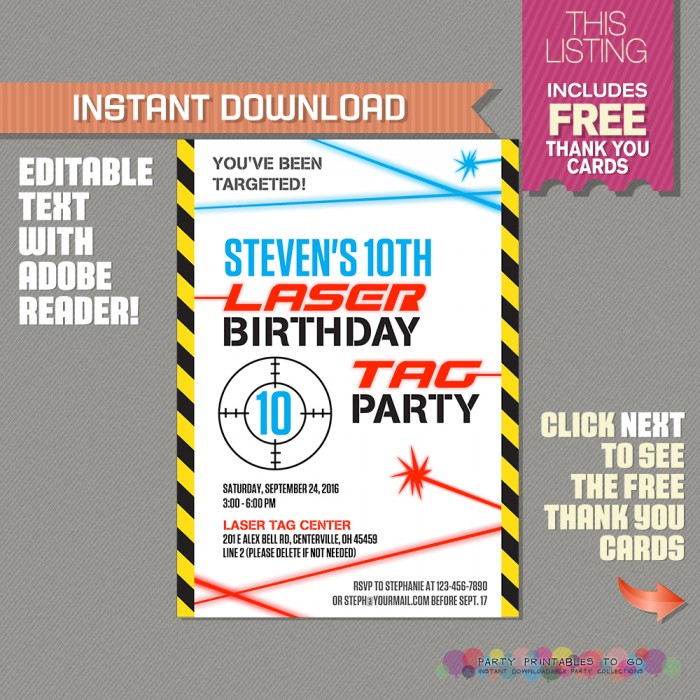 picture regarding Laser Tag Birthday Invitations Free Printable titled Laser Tag Invitation with Totally free Thank your self Card (Ink Saver variation)