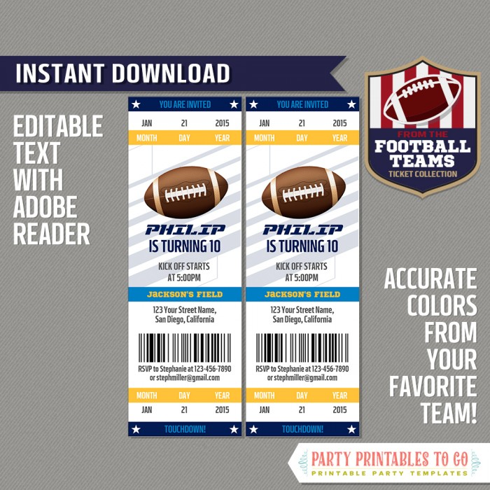 Los Angeles Chargers Ticket Invitation - Editable PDF file