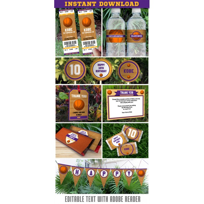 Basketball Invitation & Party Decorations (Los Angeles Lakers)