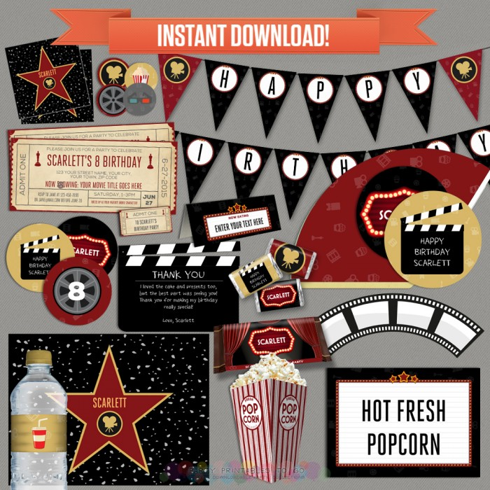 Movie Party Printables, Invitations & Decorations