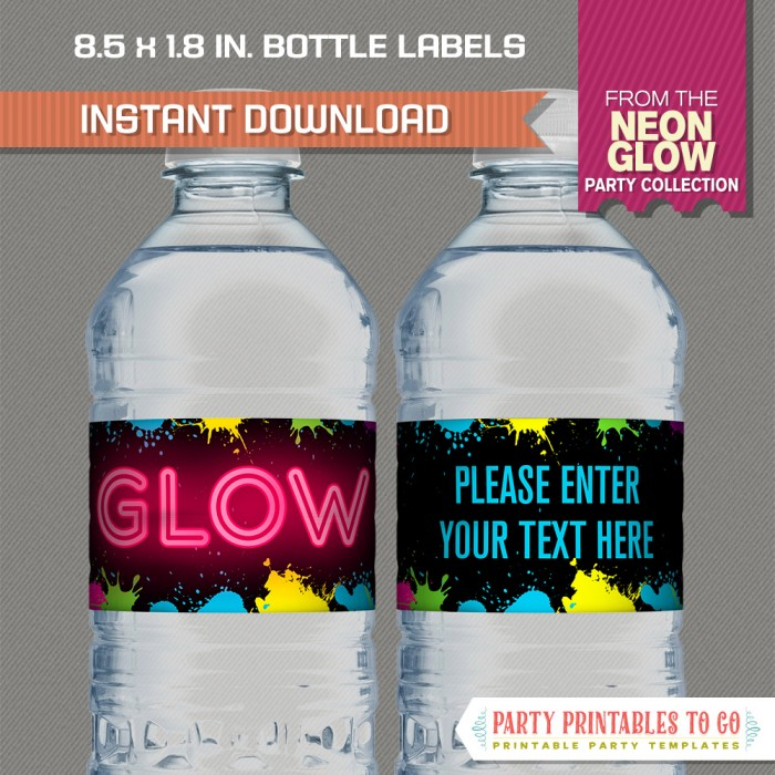 Neon Glow Party Bottle Labels/Neon Glow Party Napkin Rings