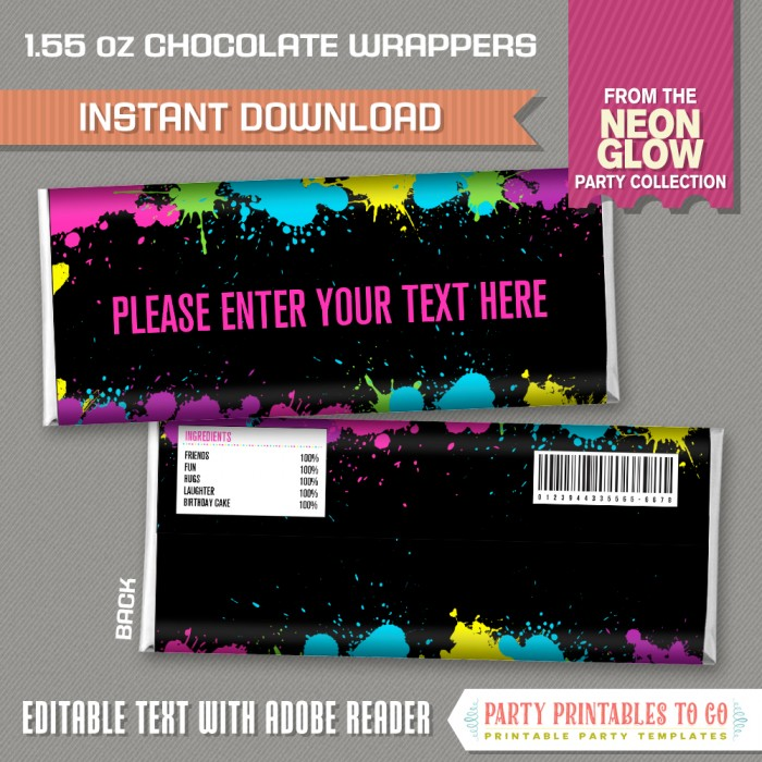 Neon Glow Party Standard size Chocolate Wrappers