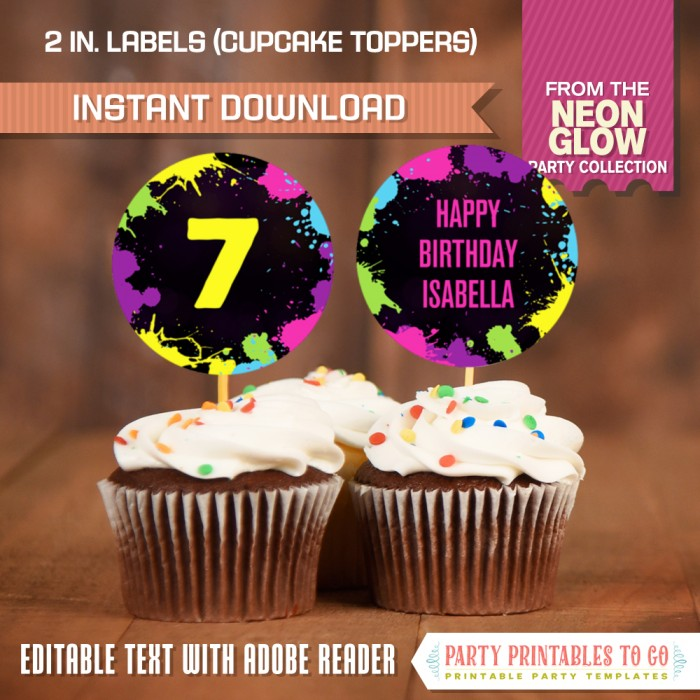 Neon Glow Cupcake Toppers