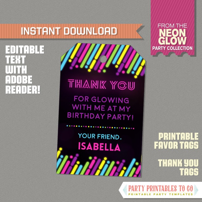 Neon Glow Party Favor Tag / Neon Glow Party Thank you Tag