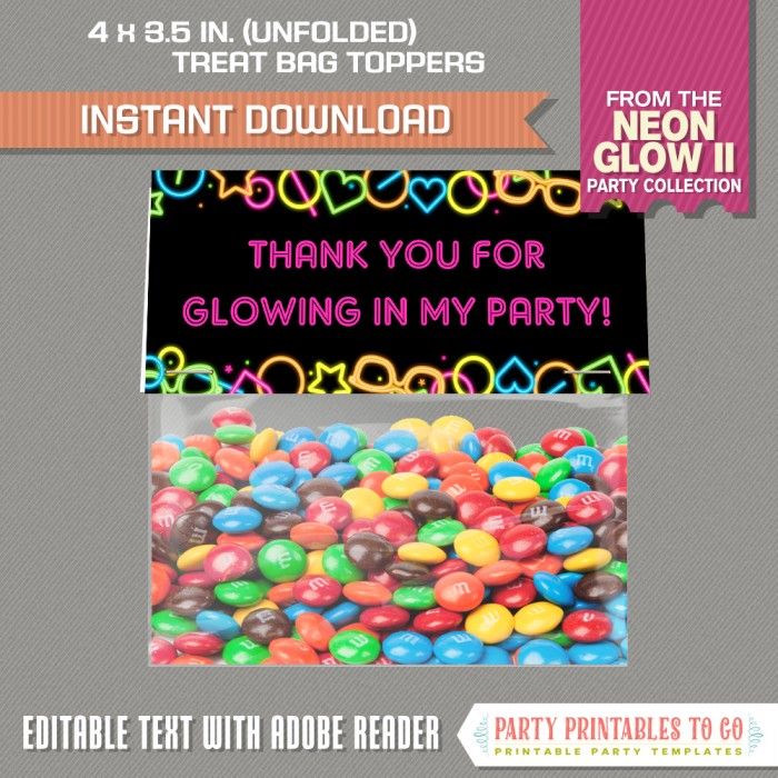 Neon Glow Party II Treat Bag Toppers
