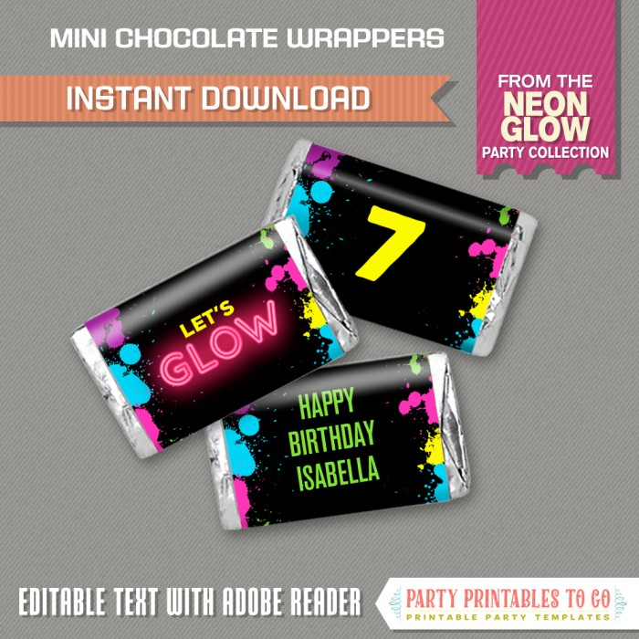Neon Glow Party Mini Hershey Wrappers