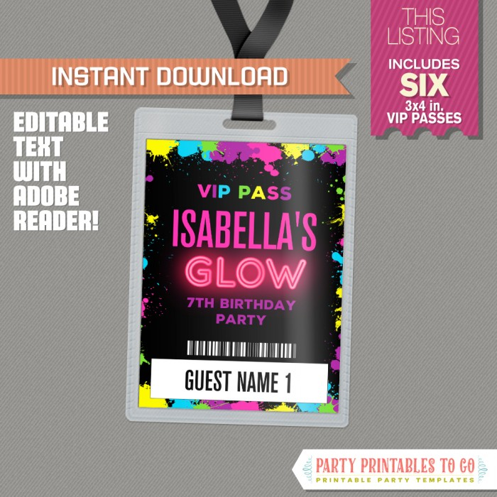 Neon Glow Party VIP Pass printable Insert