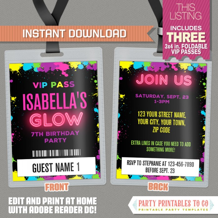 picture relating to Free Printable Glow Party Invitations known as Neon Shine Occasion VIP P Invites