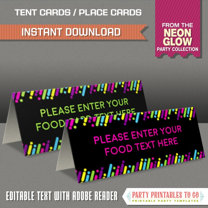 Neon Glow Party Food Labels, Neon Glow Party Place Cards