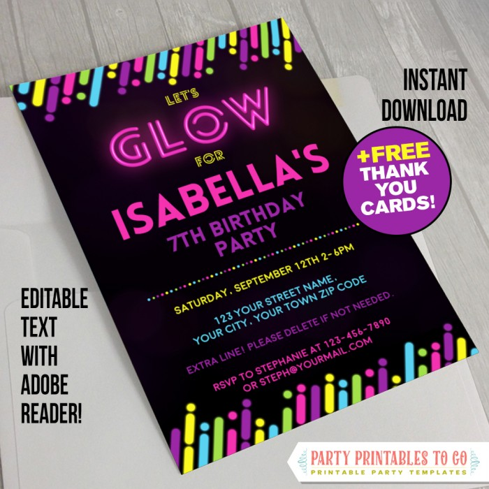 Neon Glow Party Invitation with FREE Thank you Cards (v.3)