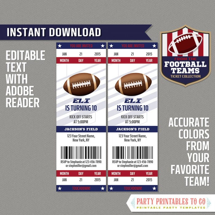New York Giants Ticket Invitation - Editable PDF file
