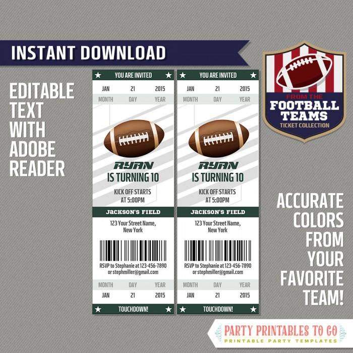 New York Jets Ticket Invitation - Editable PDF file