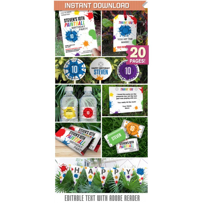 Paintball Party Invitations & Decorations - Paintball Birthday ...