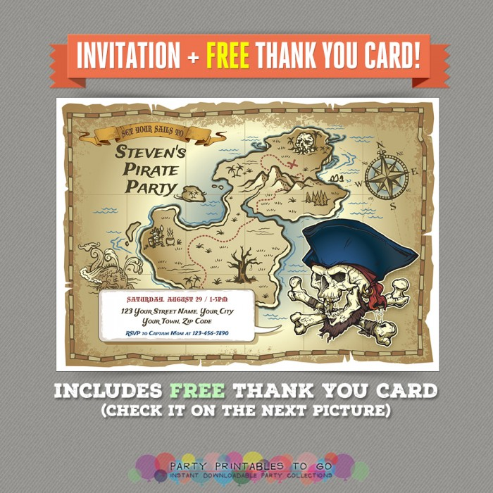 Pirate Map Birthday Party Printable Invitation with FREE Thank you Card