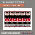 Red Carpet Party Ticket Invitation with FREE Thank you Card