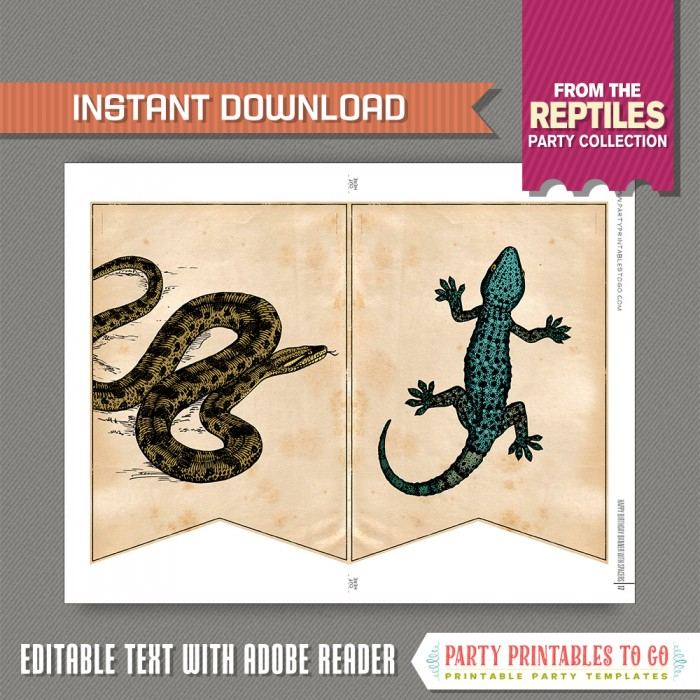 Reptile Party Banner With Spacers