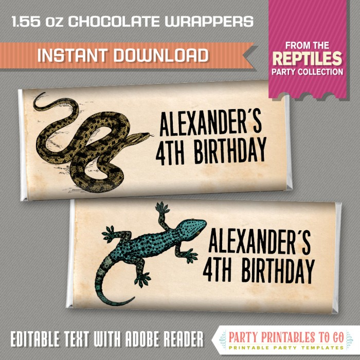 Reptile Party Standard size Chocolate Wrappers