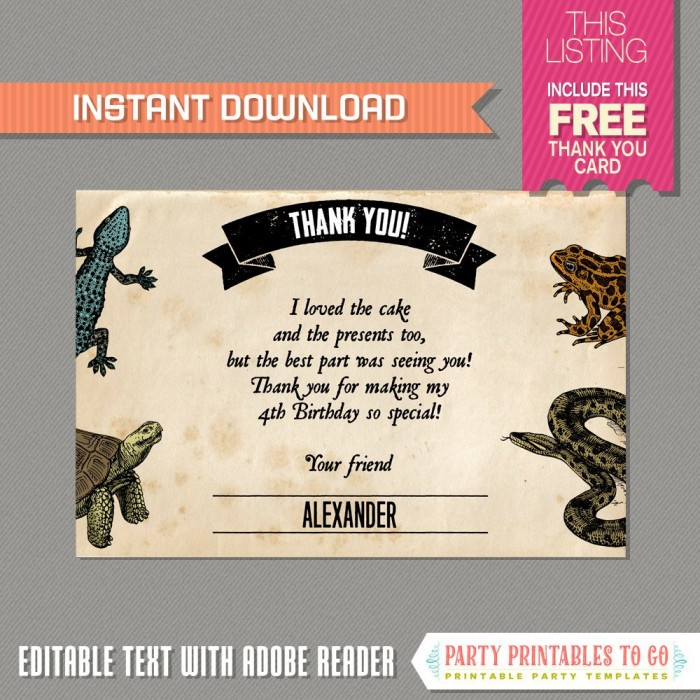 Reptile Party Invitation With Free Thank You Card With Crocodile