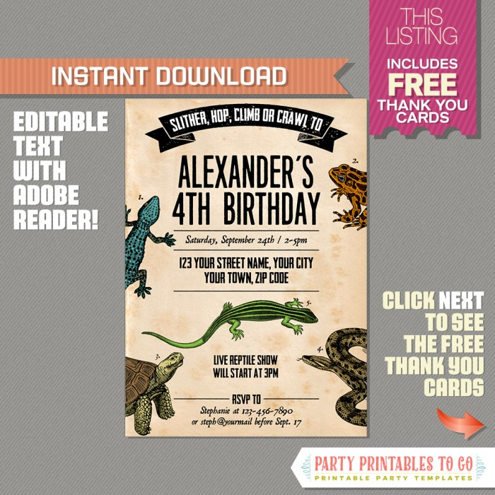 reptile party invitation with free thank you card