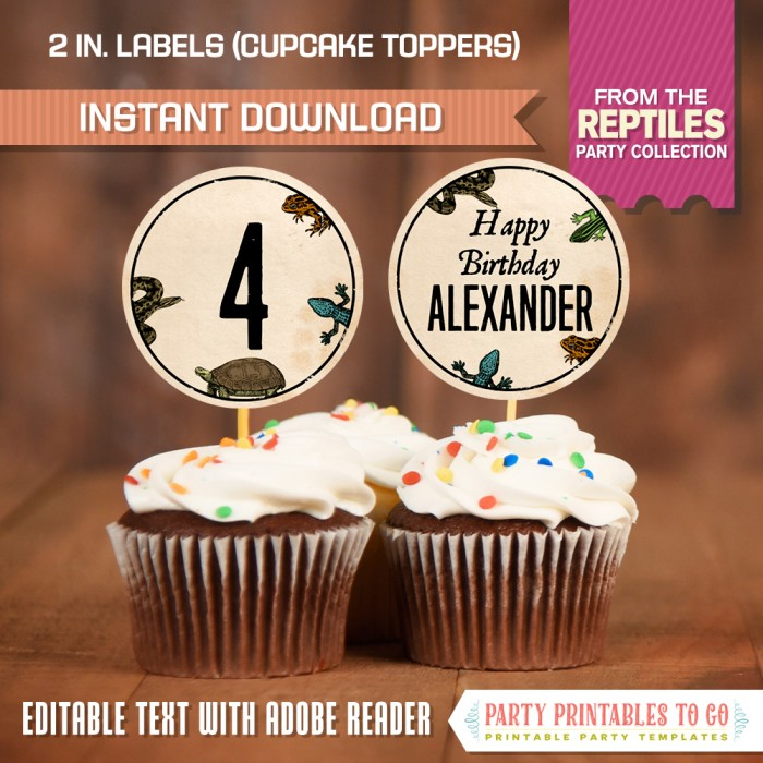Reptile Party Labels / Reptile Party Cupcake Toppers