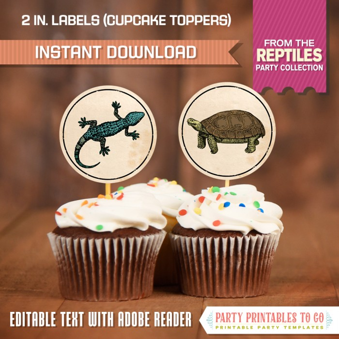Reptile Party Labels / Reptile Party Cupcake Toppers (No Text)