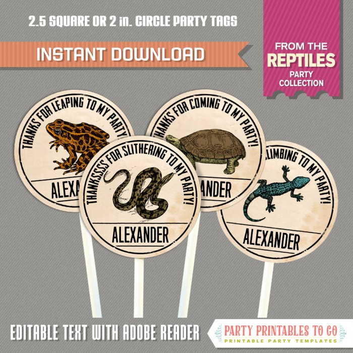 Reptile Party Favor Tags / Reptile Party Thank you Tags