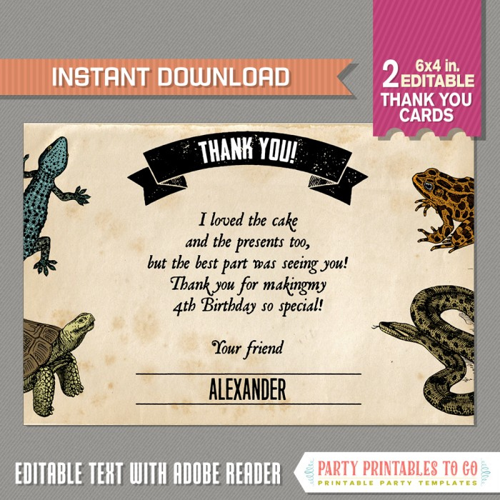 Reptile Party Thank you Card
