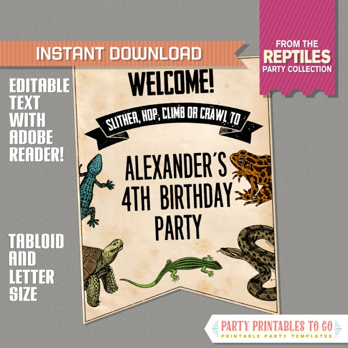 Reptile Party Welcome Sign