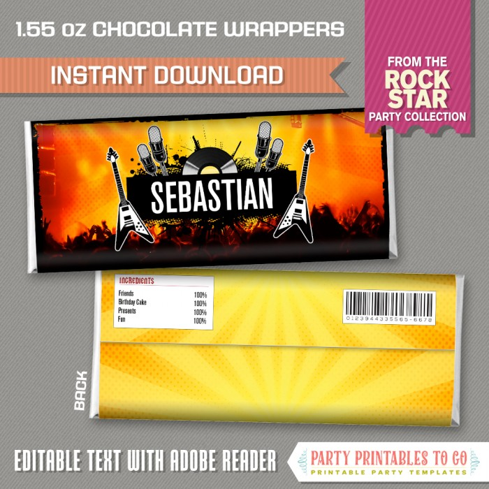 Rockstar Party Chocolate Wrappers (Classic)