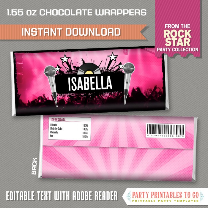 Rockstar Party Chocolate Wrappers (Pink)