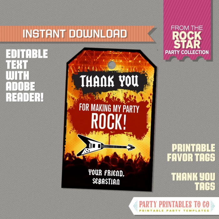 Rockstar Party Favor Tags / Rockstar Thank you Tag