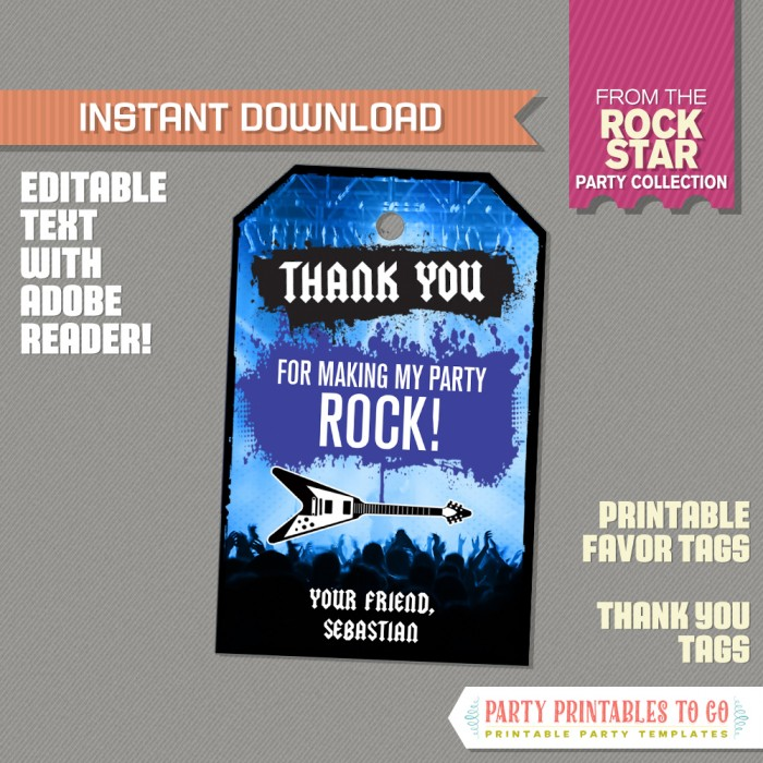 Rockstar Party Favor Tags / Rockstar Thank you Tag (Blue)