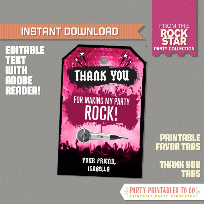 Rockstar Party Favor Tags / Rockstar Thank you Tag (Pink)